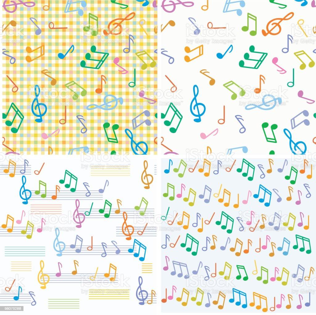 원활한 벡터 음악 지급어음 다양한 색상 royalty-free 원활한 벡터 음악 지급어음 다양한 색상 높은음자리표에 대한 스톡 벡터 아트 및 기타 이미지