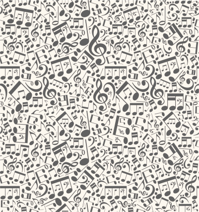 Seamless vector musical background from notes