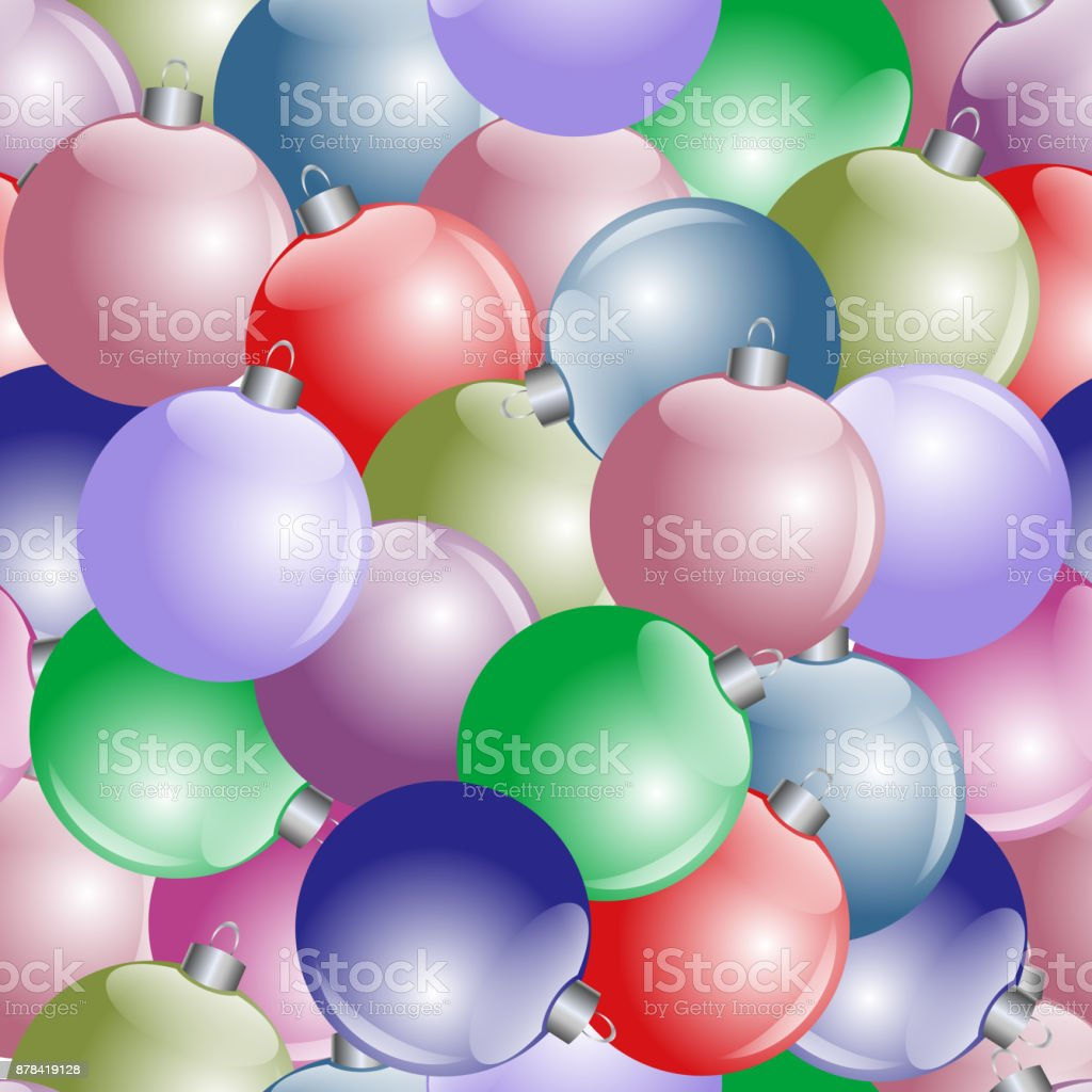 Seamless vector New Year's pattern from multi-colored balls vector art illustration