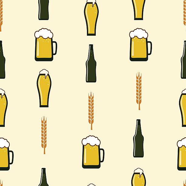 nahtloser vektor-muster mit bier - dinkelbrot stock-grafiken, -clipart, -cartoons und -symbole