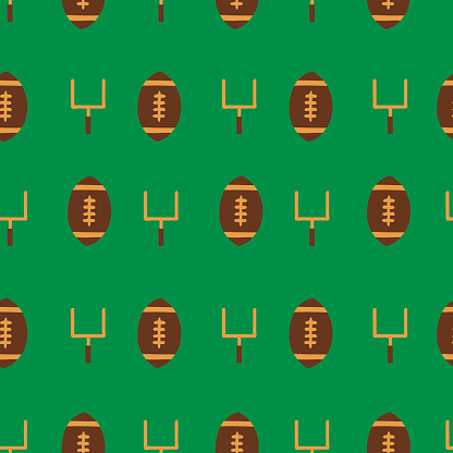 Seamless vector pattern American Football sports equipment. Repeating background with goal posts and footballs. For fabric, packaging, championship game party invitation, flyer