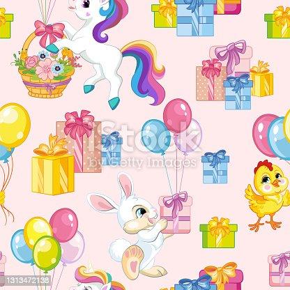 Seamless vector pattern animals happy birthday pink