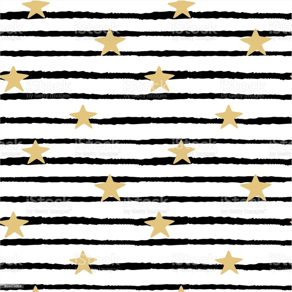Seamless Vector Pattern Background Illustration With Hand Drawn Gold Stars On Black And White Stripes Background Stock Illustration Download Image Now Istock