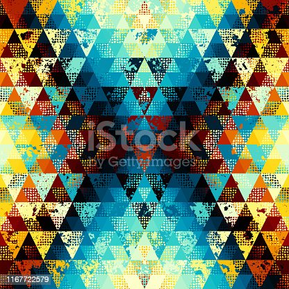 Seamless pattern of a triangles.. Aztec ornament. Vector image.
