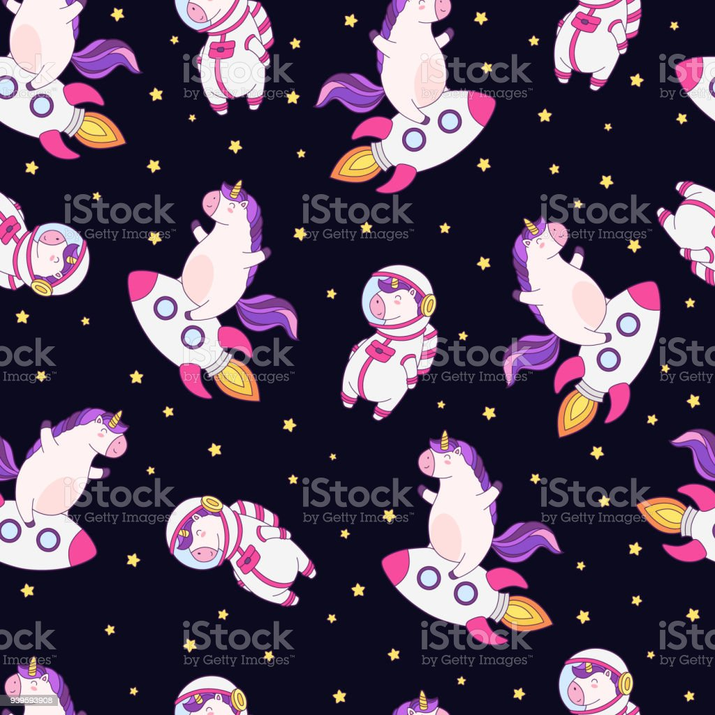 seamless vector pattern background wallpaper with funny unicorns cute vector id939593908