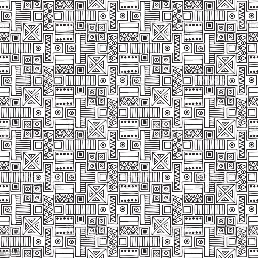 Seamless vector pattern. Black and white geometrical background with hand drawn decorative tribal elements. Print with ethnic, folk, traditional motifs. Graphic vector illustration. royalty-free seamless vector pattern black and white geometrical background with hand drawn decorative tribal elements print with ethnic folk traditional motifs graphic vector illustration stock vector art & more images of african culture