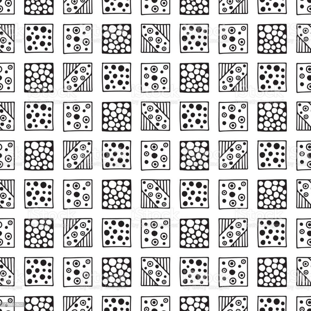 無縫向量模式。黑色和白色幾何背景用手繪製部落的裝飾元素。列印與民族、 民俗、 傳統的圖案。圖形的向量圖。 免版稅 無縫向量模式黑色和白色幾何背景用手繪製部落的裝飾元素列印與民族 民俗 傳統的圖案圖形的向量圖 向量插圖及更多 三角形 圖片