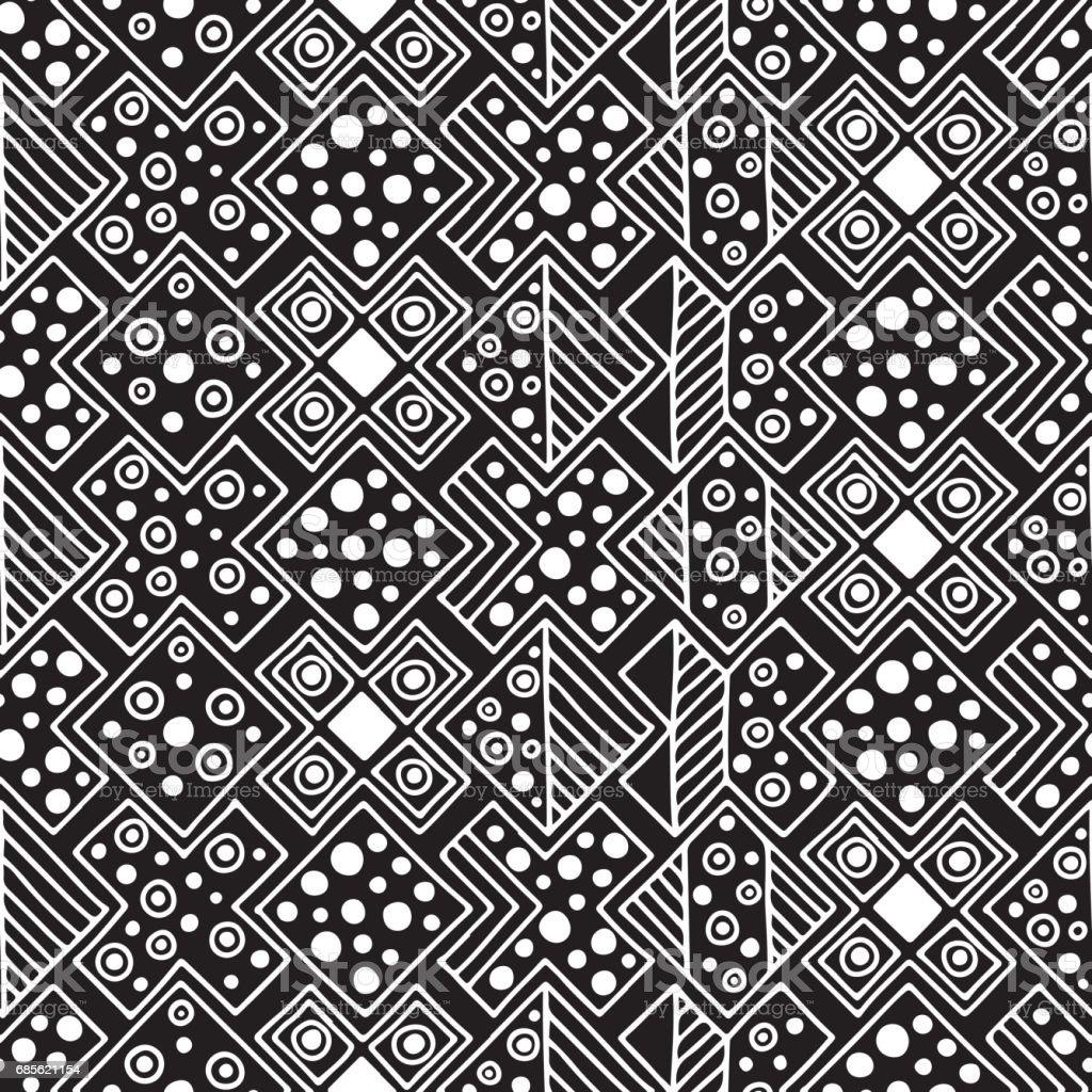 シームレス パターン。手で黒と白の幾何学的な背景には、部族の装飾的な要素が描かれています。民族、民俗、従来のモチーフを印刷します。グラフィックのベクター イラストです。 ロイヤリティフリーシームレス パターン手で黒と白の幾何学的な背景には部族の装飾的な要素が描かれています民族民俗従来のモチーフを印刷しますグラフィックのベクター イラストです - アステカのベクターアート素材や画像を多数ご用意