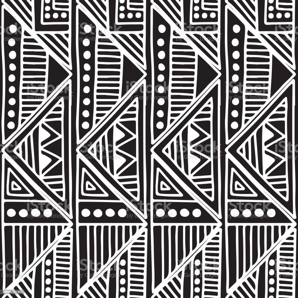 Nahtlose Vektormuster. Schwarz / weiß geometrischen Hintergrund mit Hand gezeichnet Stammes-Dekorationselemente. Drucken Sie mit ethnischen, volkstümlichen, traditionellen Motiven. Graphischen Vektor-Illustration. Lizenzfreies nahtlose vektormuster schwarz weiß geometrischen hintergrund mit hand gezeichnet stammesdekorationselemente drucken sie mit ethnischen volkstümlichen traditionellen motiven graphischen vektorillustration stock vektor art und mehr bilder von altertümlich