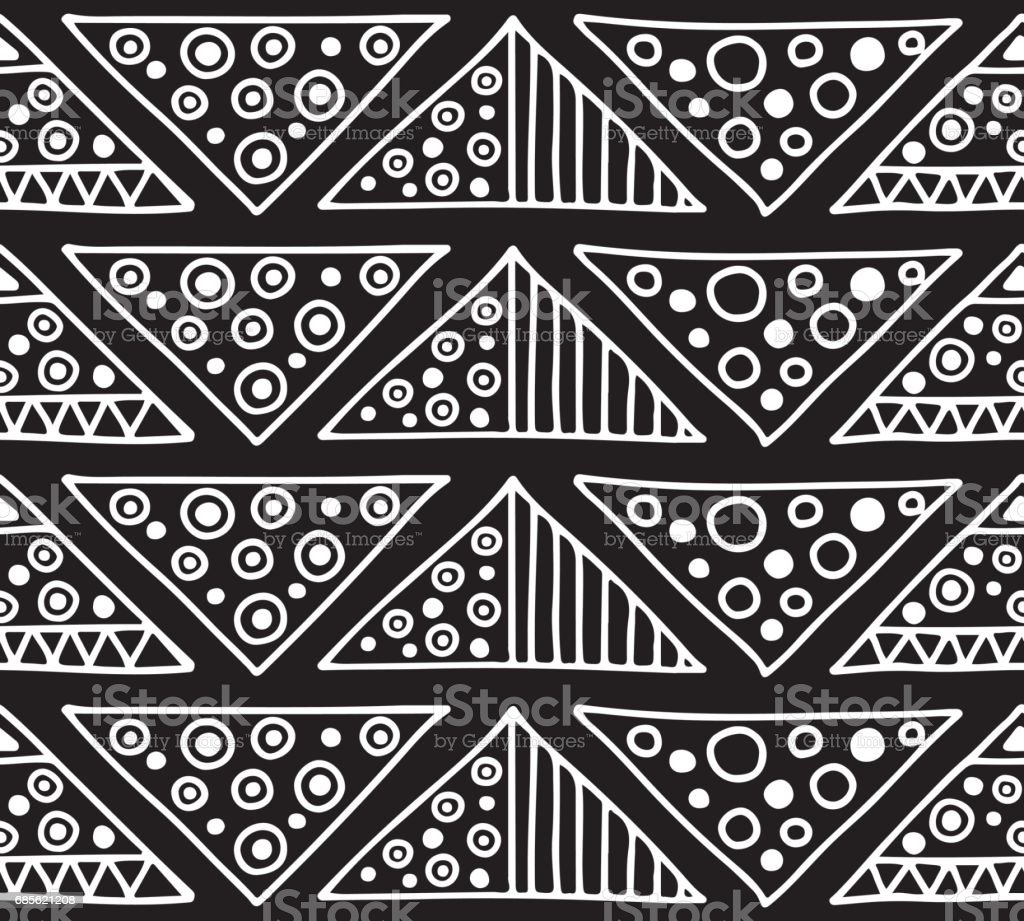 Seamless vector pattern. Black and white geometrical background with hand drawn decorative tribal elements. Print with ethnic, folk, traditional motifs. Graphic vector illustration. royalty-free seamless vector pattern black and white geometrical background with hand drawn decorative tribal elements print with ethnic folk traditional motifs graphic vector illustration stock vector art & more images of arabic style