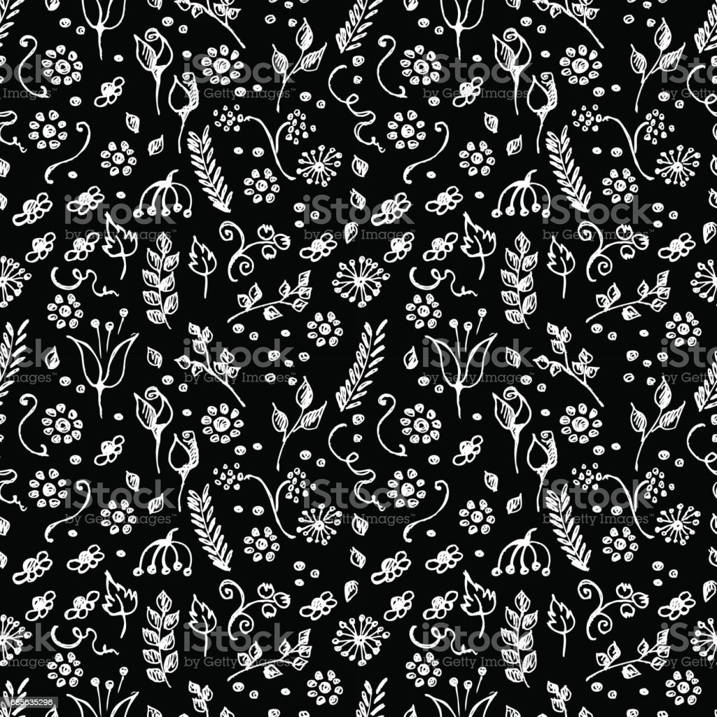 seamless vector pattern blue hand drawn background with flowers