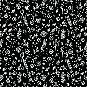Seamless vector pattern, blue hand drawn background with flowers, branch, leaves, dots. Hand sketch drawing. Doodle funny style. Series of Hand Drawn seamless childish Patterns.