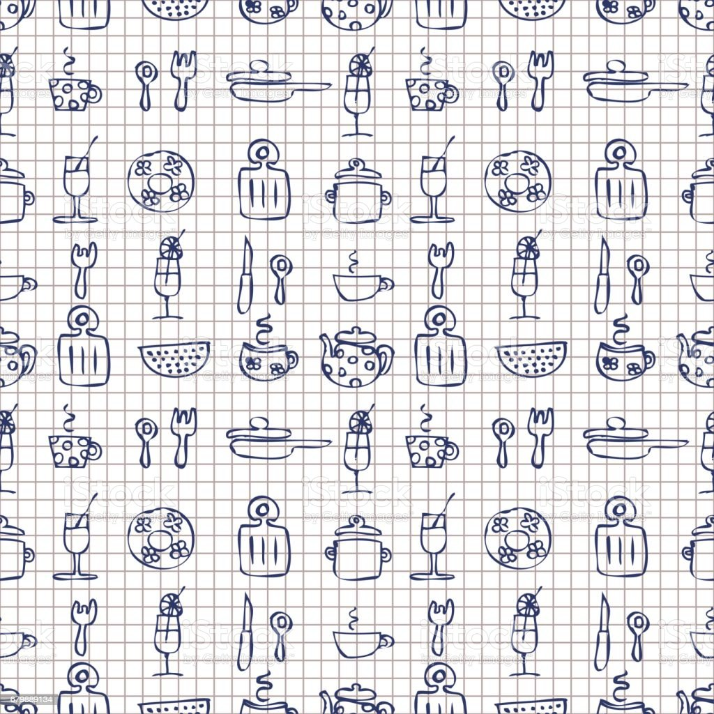 Seamless Vector Pattern Checkered Hand Sketch Drawn Background With Kitchenware Series Of Patterns Stock Illustration Download Image Now Istock