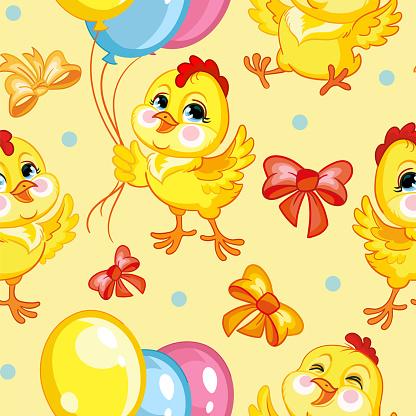 Seamless vector pattern chickens happy birthday yellow
