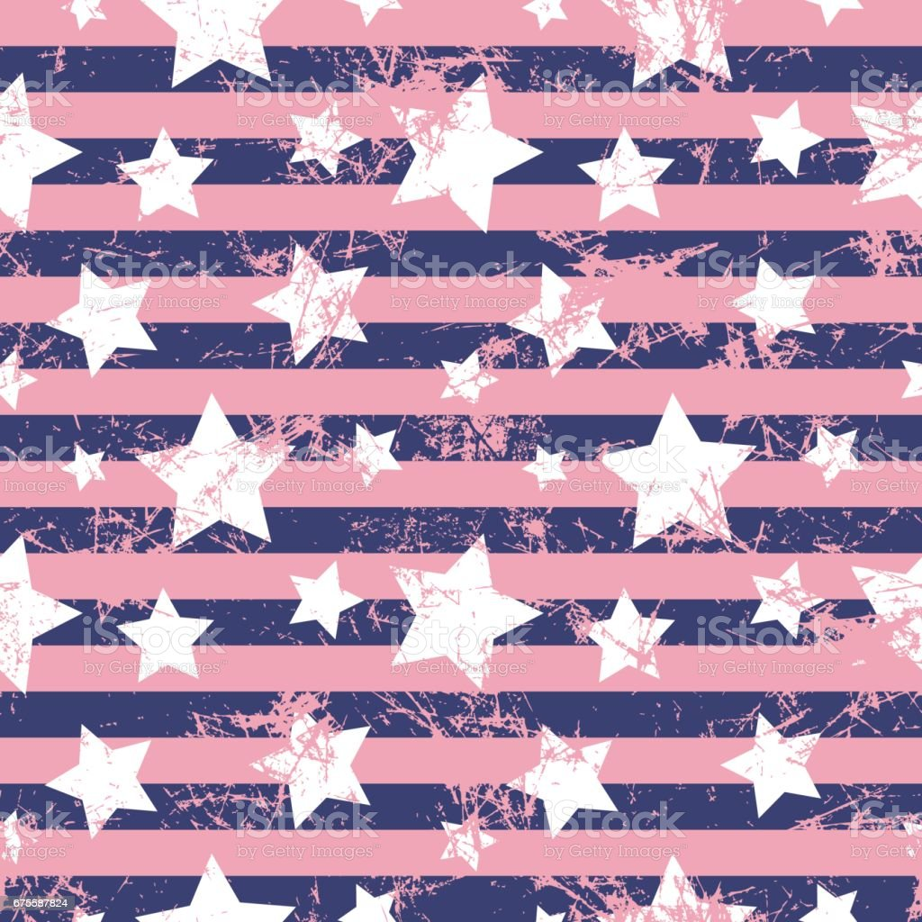 Seamless vector pattern. Creative geometric violet background with stars and stripes. Texture with attrition, cracks and ambrosia. Old style vintage design. Graphic illustration. seamless vector pattern creative geometric violet background with stars and stripes texture with attrition cracks and ambrosia old style vintage design graphic illustration – cliparts vectoriels et plus d'images de abstrait libre de droits