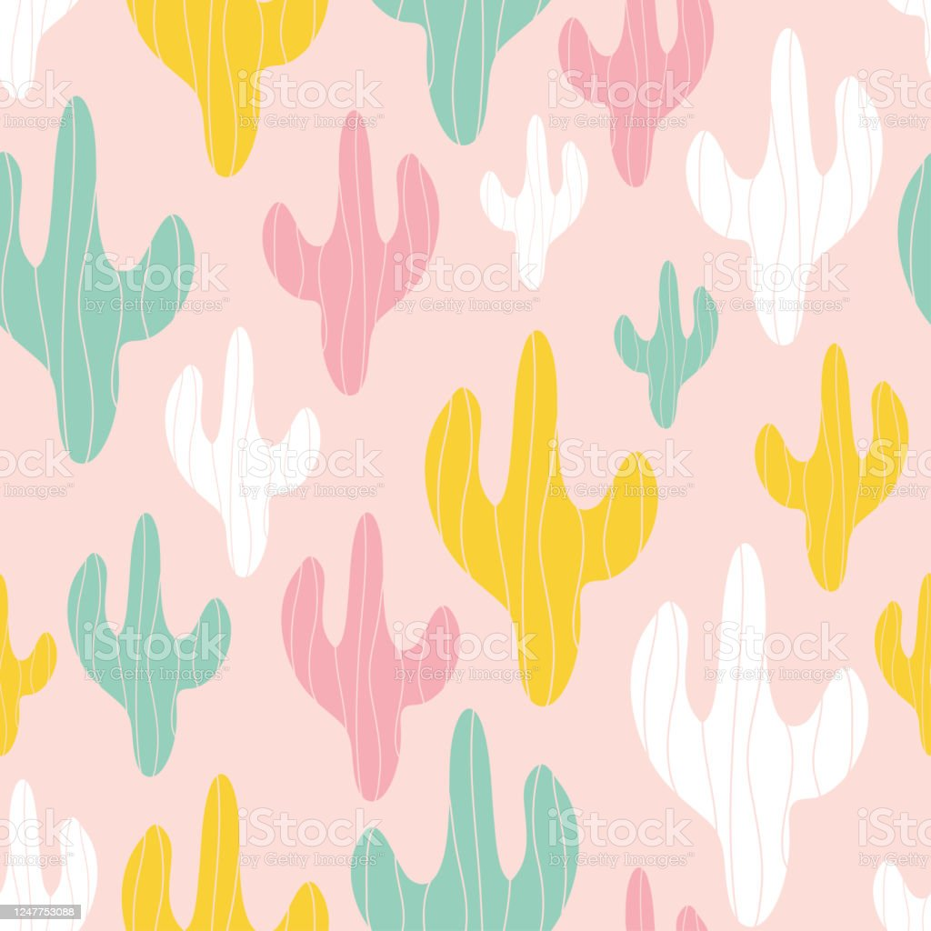 Seamless Vector Pattern Cute Colorful Pastel Cactus On Pink Background Stock Illustration Download Image Now Istock