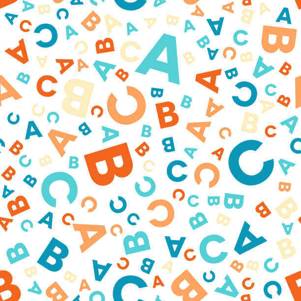Seamless vector pattern - different letters ABC vector art illustration