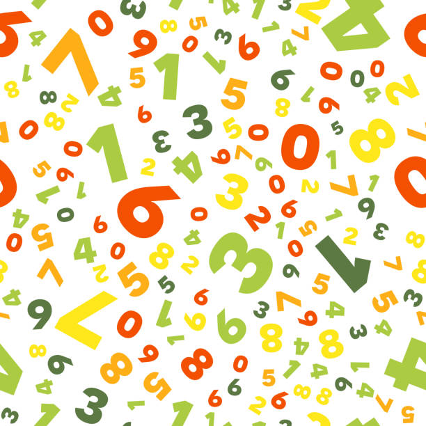 Seamless vector pattern - different numbers vector art illustration