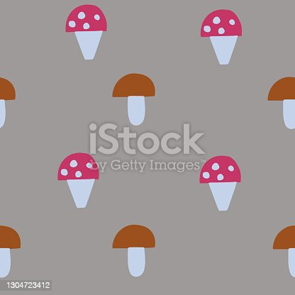 Seamless vector pattern. Fly and white mushrooms. Harvest. Simple shapes. For paper, cover, fabric or gift wrap. Vector illustration