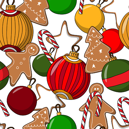 seamless vector pattern for merry christmas and happy new year with ginger cookies and Christmas balls