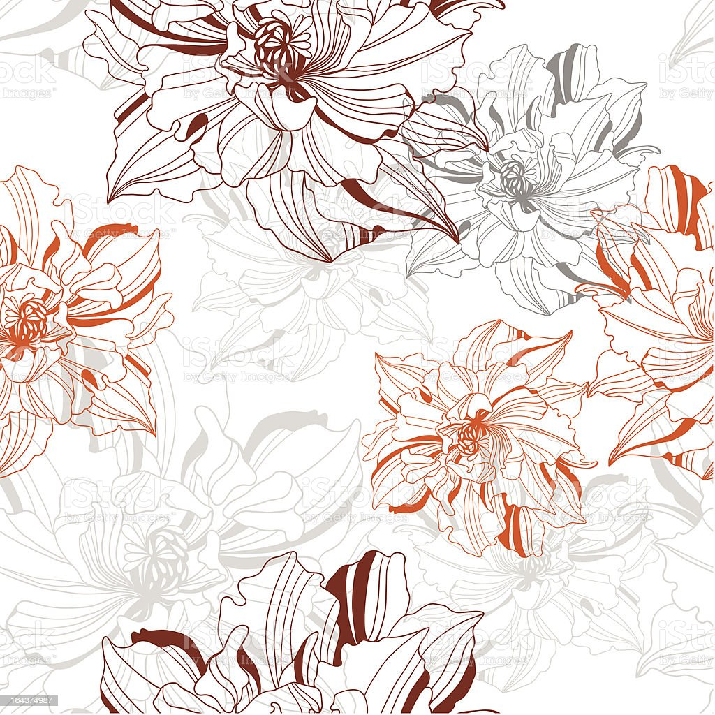 seamless vector pattern from abstract flowers royalty-free stock vector art