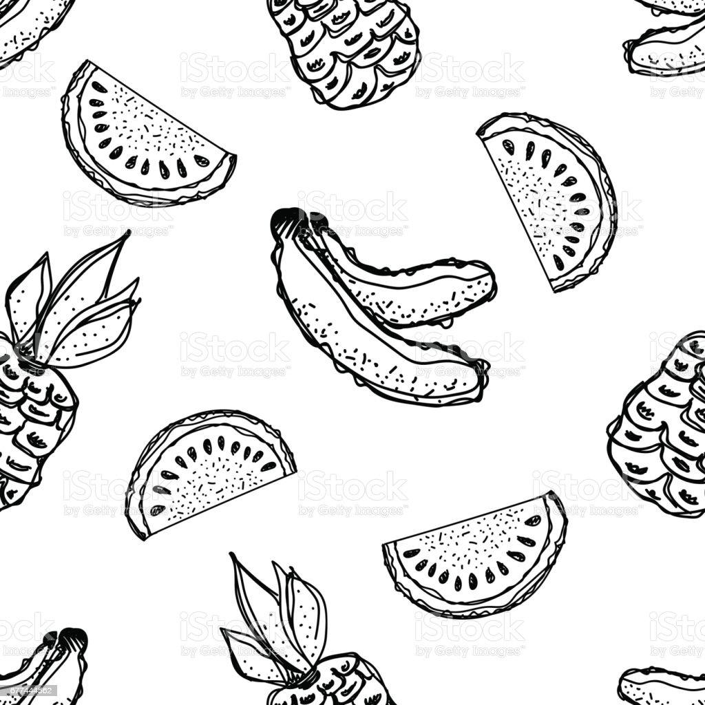 Sorunsuz Vektör Desen Elle çizilmiş Muz Ananas Karpuz Beyaz Zemin