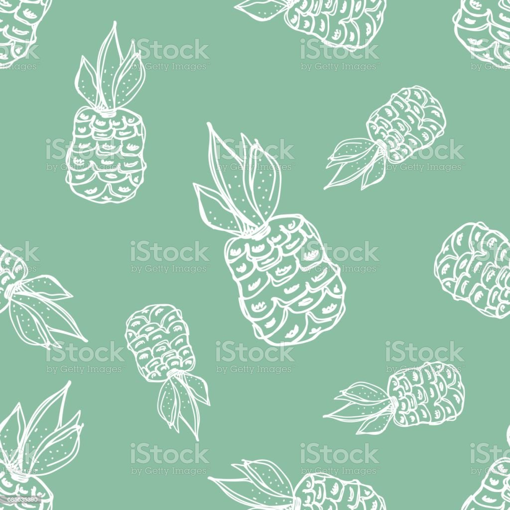 Seamless vector pattern. Hand drawn fruits illustration of pineapple on the Line drawing. Print for wallpaper, background, surface, fabric, decor royalty-free seamless vector pattern hand drawn fruits illustration of pineapple on the line drawing print for wallpaper background surface fabric decor stock vector art & more images of apple - fruit