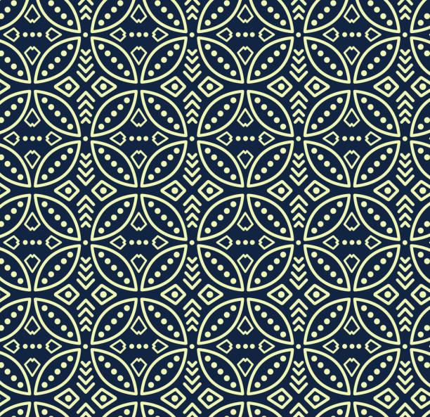 ilustrações de stock, clip art, desenhos animados e ícones de seamless vector pattern in bali batik style on the dark navy background. - indonésia