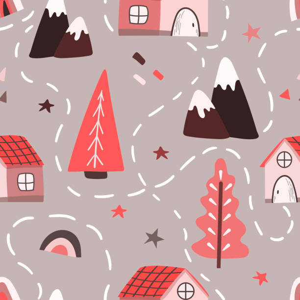 Seamless vector pattern in Scandinavian style with winter trees, mountains, houses, map. vector art illustration