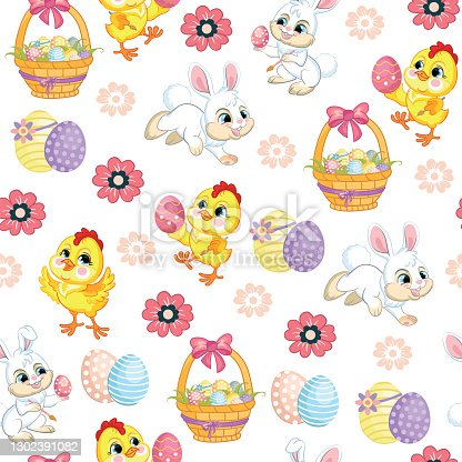 Seamless vector pattern lambs, bunnies and big easter egg