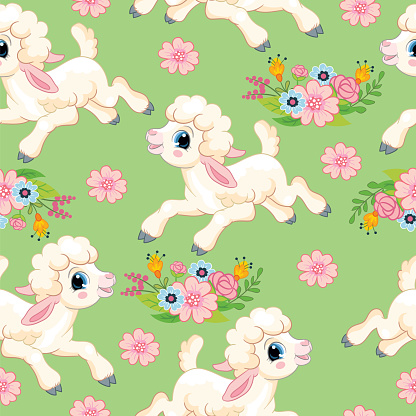Seamless vector pattern lambs on green background
