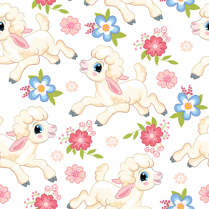 Seamless vector pattern lambs on white background