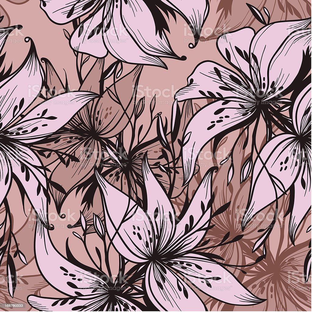 seamless vector pattern of abstract lilies royalty-free stock vector art