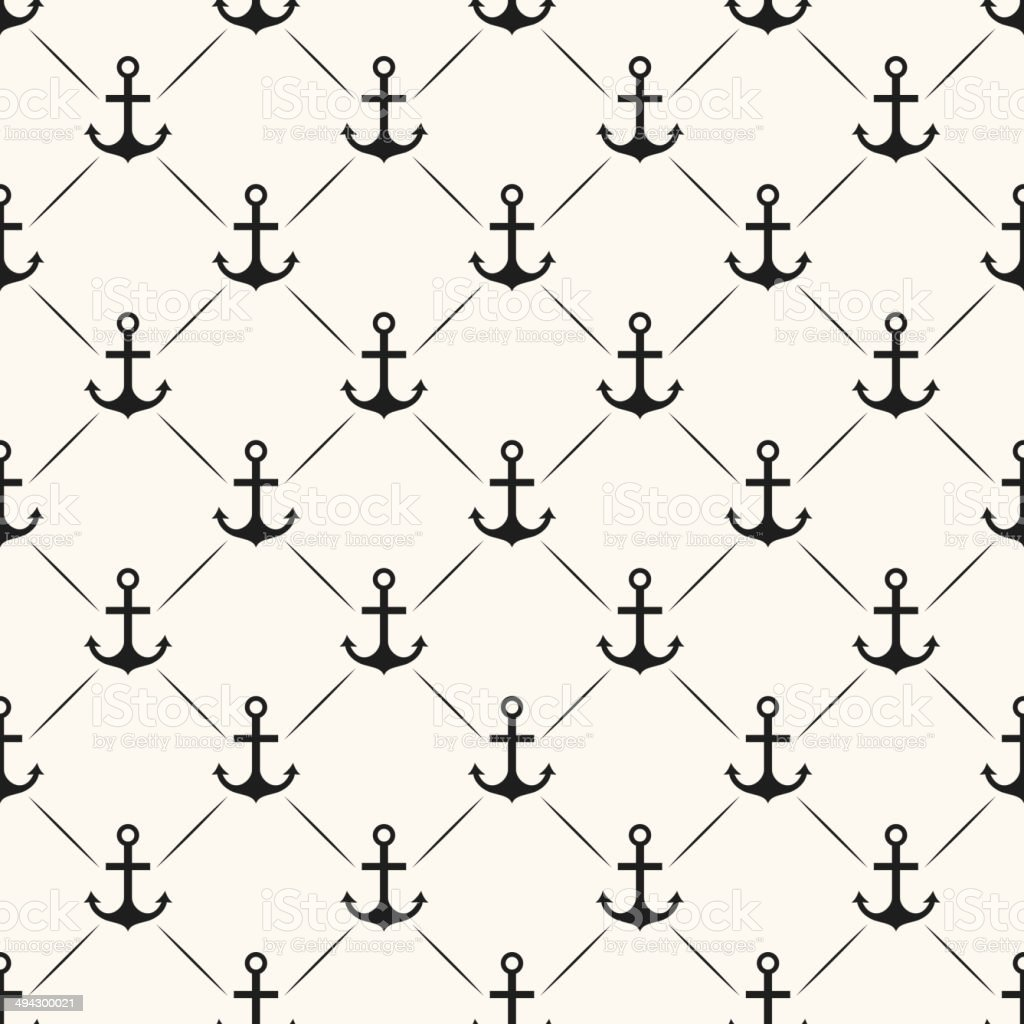Seamless vector pattern of anchor shape and line vector art illustration