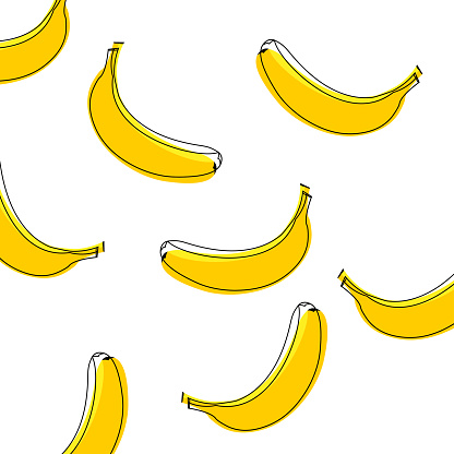 Seamless vector pattern of bananas. Background with bananas, vector illustration