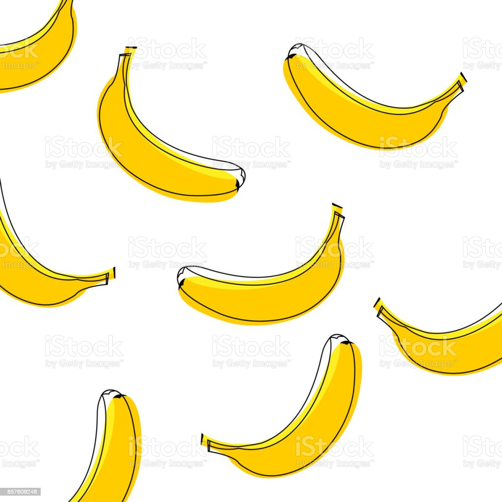 Seamless vector pattern of bananas. Background with bananas, vector illustration vector art illustration