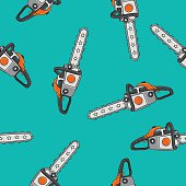 Seamless vector pattern of chain saws