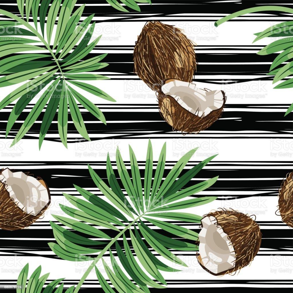 Patrón transparente de vector de cocos en un rayado blanco y negro. Fruta del paraíso. Concepto de verano. Papel de embalaje - ilustración de arte vectorial