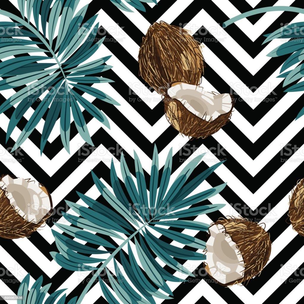 Patrón transparente de vector de cocos. - ilustración de arte vectorial