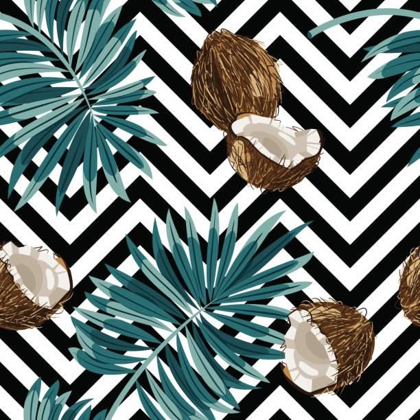 ilustrações, clipart, desenhos animados e ícones de padrão de vetor sem emenda de cocos. - coqueiro