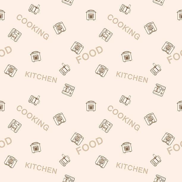 ilustraciones, imágenes clip art, dibujos animados e iconos de stock de seamless vector pattern of devices for cooking food - busy restaurant kitchen