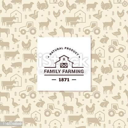 Seamless vector pattern of farm animals, buildings, equipment and other elements in 2 colors with the vector logo of the family farm in the center. Consists of vector flat icons.