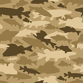Seamless vector pattern of fishing camouflage. Khaki camo of freshwater fish