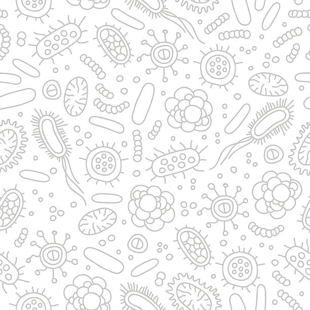 Seamless vector pattern of germs and bacteria Seamless vector pattern of germs and bacteria. Beautiful abstract background. The concept of healthcare and medicine. bacterium stock illustrations