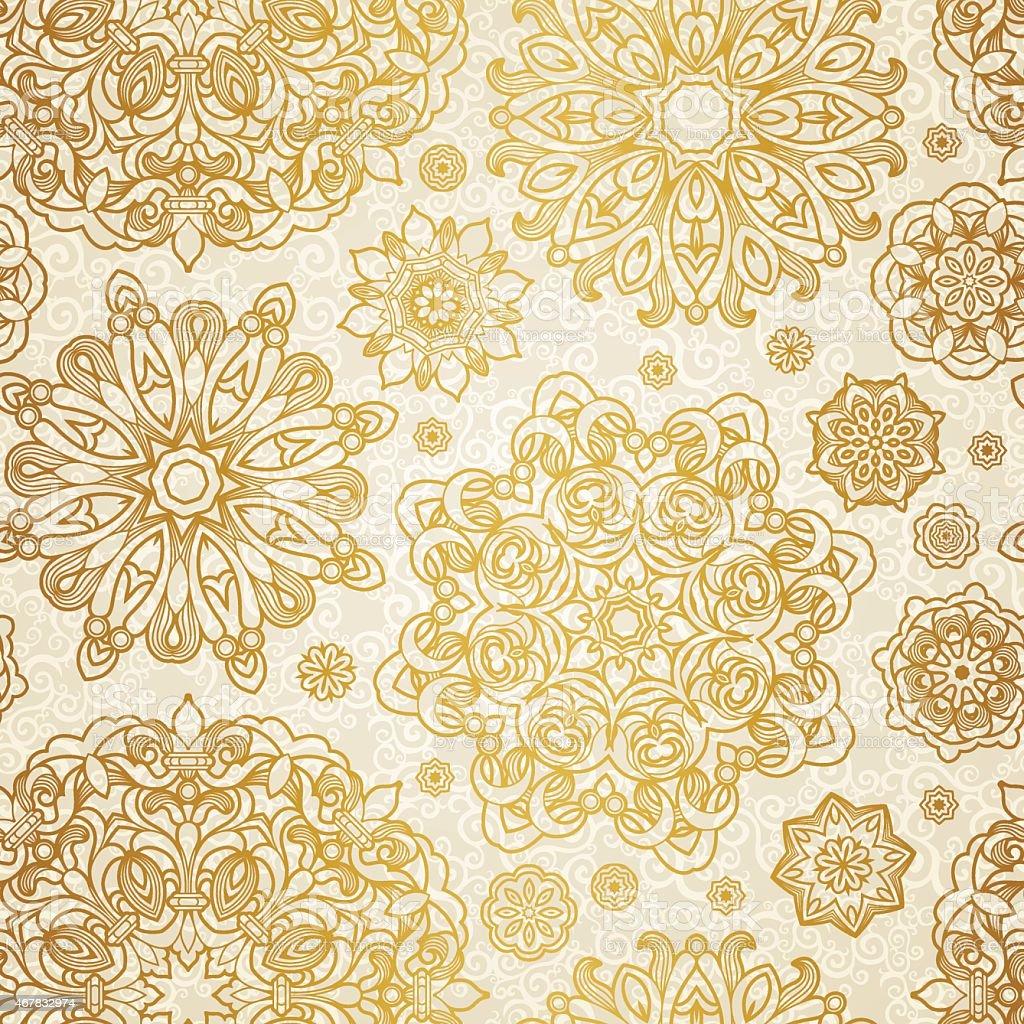 seamless vector pattern of gold mandalas on cream