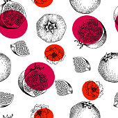 Seamless vector pattern of pomegranate fruits and flowers. Hand drawn. Engraved juicy natural fruit. Moisturizing serum, healthcare. Good for cosmetics, medicine, treating, package design, skincare