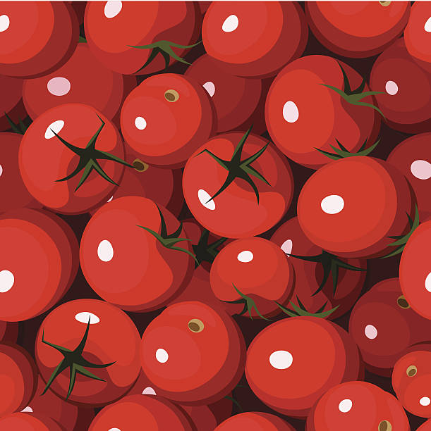 seamless vector pattern of red plump tomatoes - cherry tomato stock illustrations