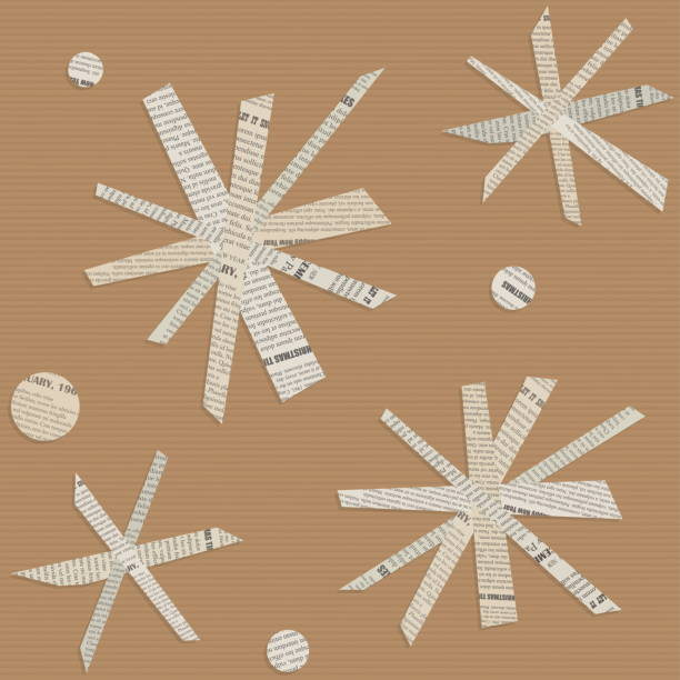 Seamless vector pattern of snowflakes cut out from newsprint paper. vector art illustration