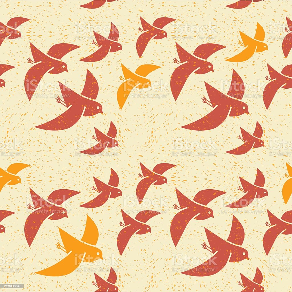 seamless vector pattern of stylized birds flying south for winter vector art illustration