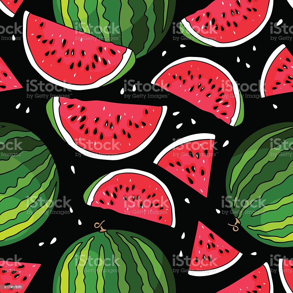 Seamless vector pattern of watermelon vector art illustration
